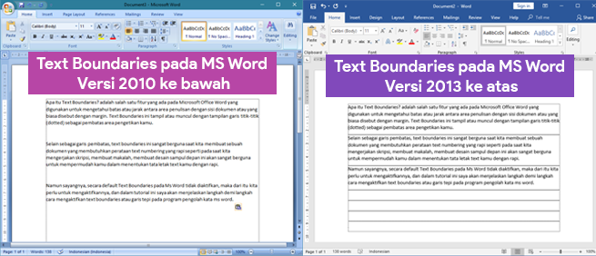 Tampilan Garis Tepi Margin (Text Boundaries) di MS Word