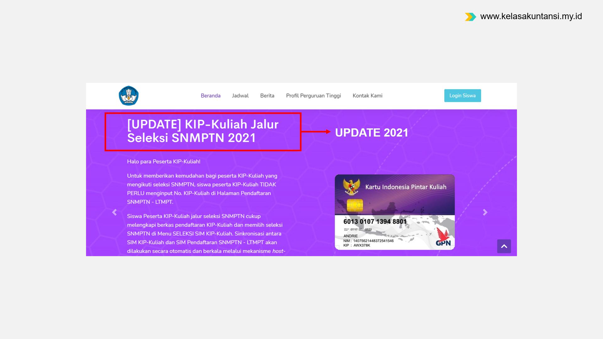 Update Info Status Sinkronisasi LTMPT di Akun KIP Kuliah 2021