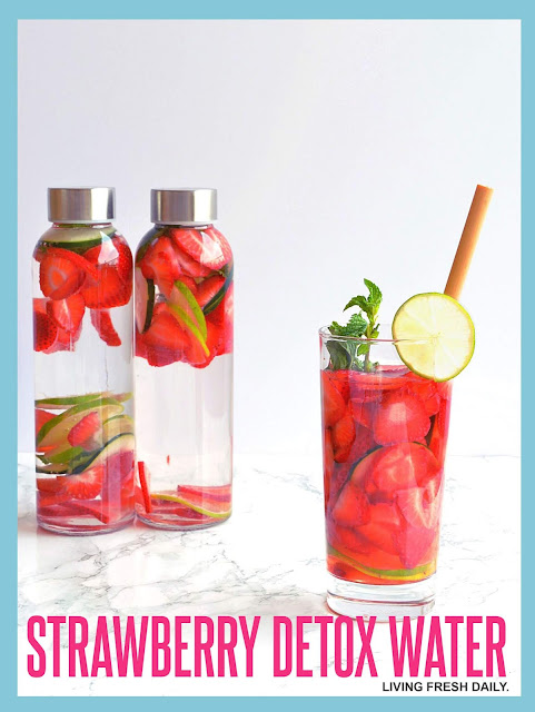 Healthy strawberry detox water.