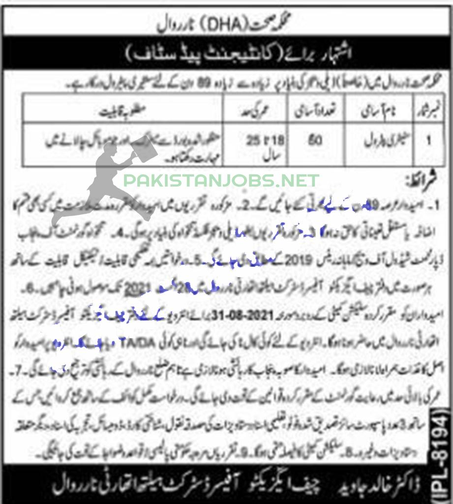 District Health Authority, DHA Jobs 2021