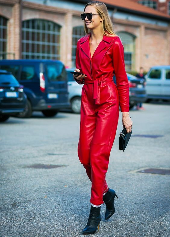 Street Style Red Leather Jump Suit