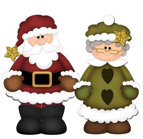dibujos navidad de Santa Claus y señora