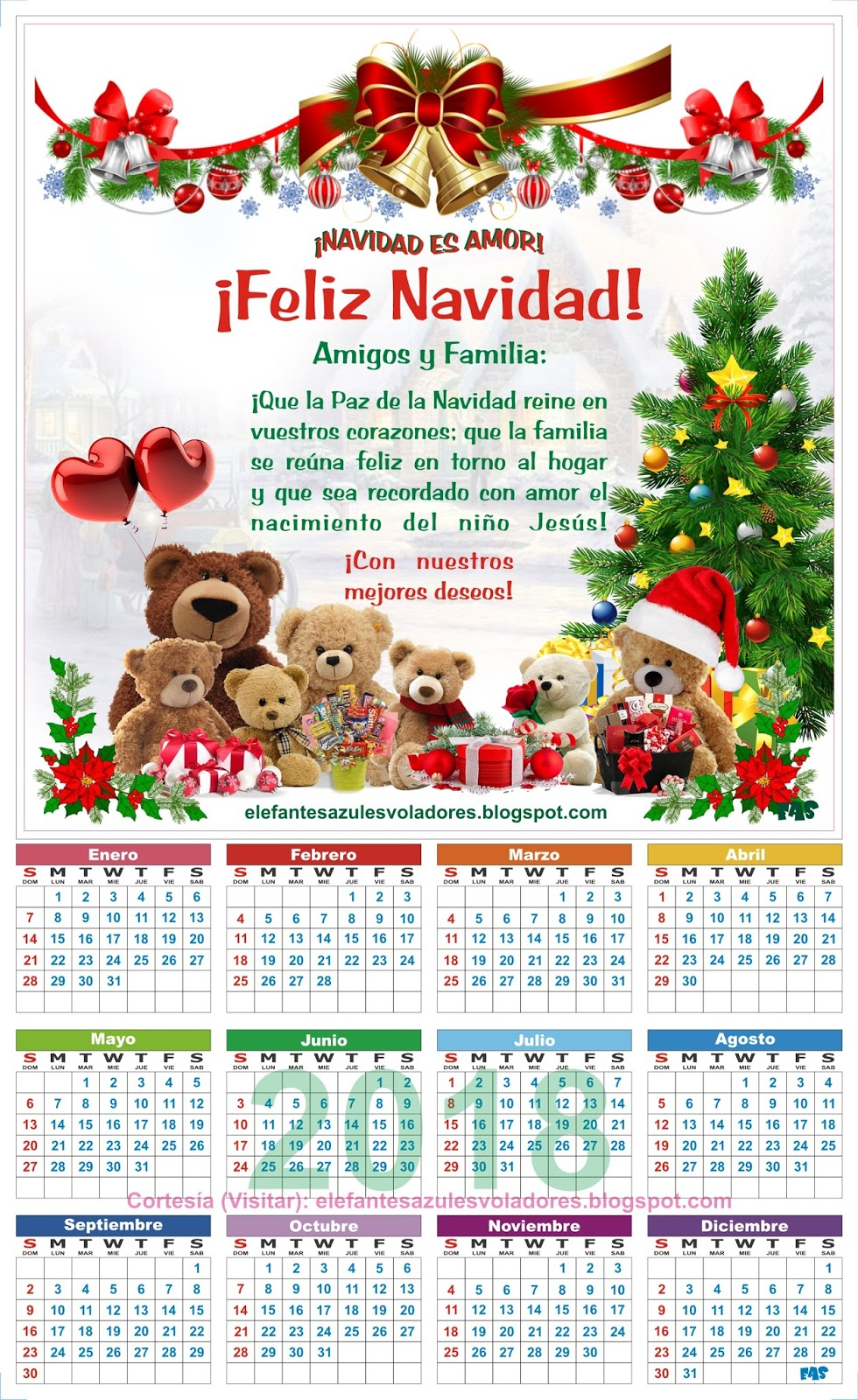navidad 2018 calendario Elefantes Azules Voladores: CALENDARIO 2018 PARA IMPRIMIR, VECTOR  navidad 2018 calendario