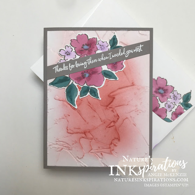 By Angie McKenzie for Crafty Collaborations Retiring In Colors Blog Hop; Click READ or VISIT to go to my blog for details! Featuring the Hand-Penned Petals Bundle from the upcoming 2021-2022 Annual Catalog and the retiring Ornate Style Photopolymer Stamp Set by Stampin' Up!; #occasioncards #thankyoucards #stamping #retiringincolors20192021 #retiringincolorsbloghop #sneakpeek #handpennedpetalsstampset #handpennedpetalsbundle #20212022annualcatalog #ornatestylestampset #todaystilesstampset #20202021annualcatalog #naturesinkspirations #makingotherssmileonecreationatatime #coloringwithblends #inkblending #fauxstucco #cardtechniques #stampinup #stampinupink #handmadecards