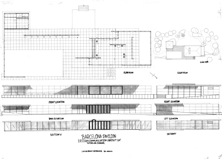 Drawing plan Mies Van Der Rohe