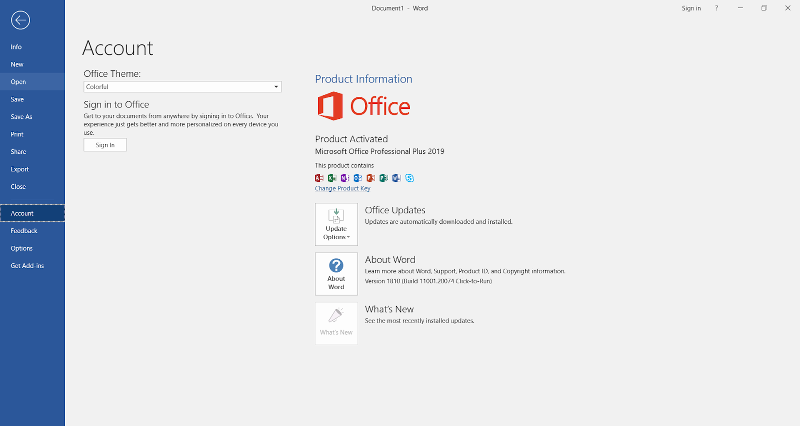 activation key for microsoft office 2019