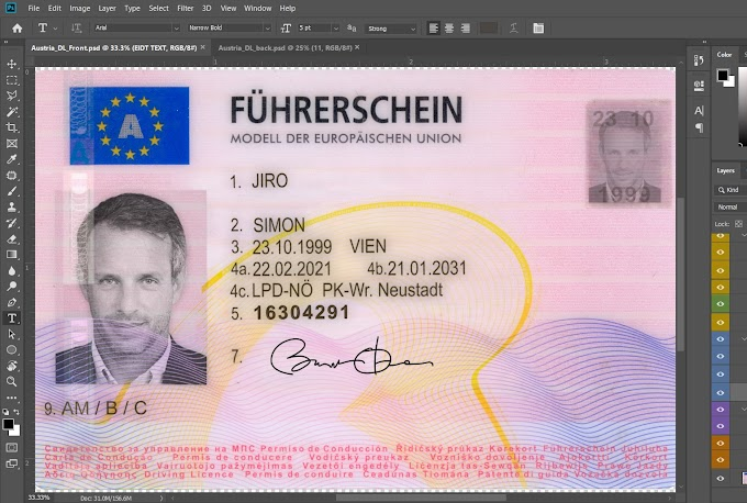 AUSTRIA DRIVER LICENSE PHOTOSHOP PSD TEMPLATE