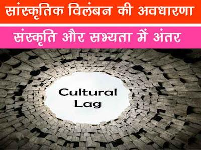 सांस्कृतिक विलम्बन (Cultural Lag) |सभ्यता और संस्कृति में अन्तर | Cultural Lag in Hindi