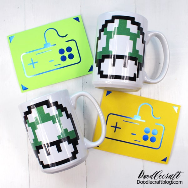 Ta da! Fill the mugs with treats or a gift card, add some hot chocolate or coffee mix and write something heartfelt on the card! The perfect gamer gift handmade with love!
