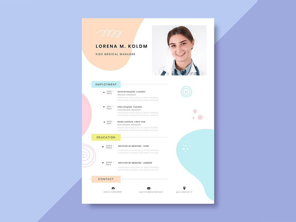 Free Kids Medical Manager Resume Template