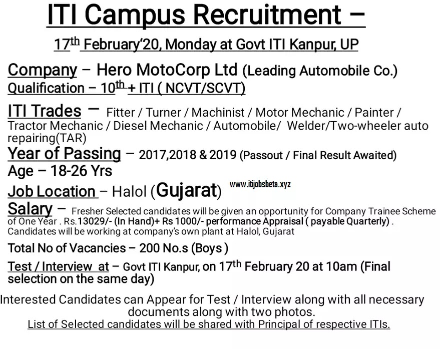 ITI Campus Placement Govt ITI Kanpur Up