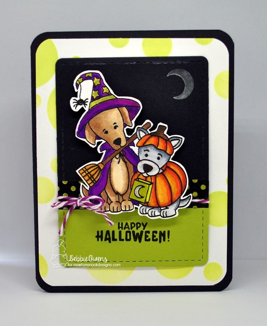 Happy Howl-oween by Debbie features Bubbly, Frames & Flags, and Spooky Skeletons by Newton's Nook Designs; #newtonsnook