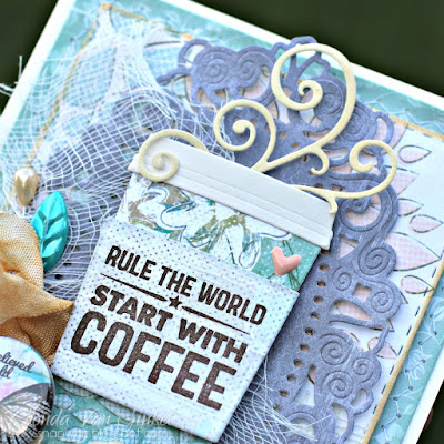 Card featuring Harmony collection by Quick Quotes as featured in 2017 September Club Q designed for 2017 Coffee Lovers Blog Hop designed by Rhonda Van Ginkel