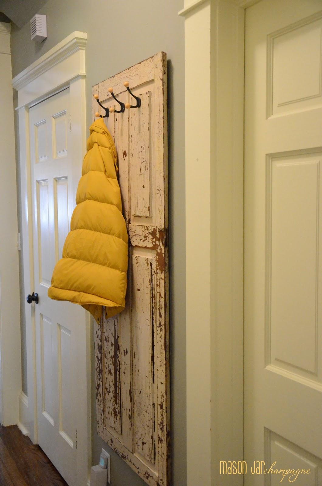 Mason Jar Champagne Chippy Door Coat Rack