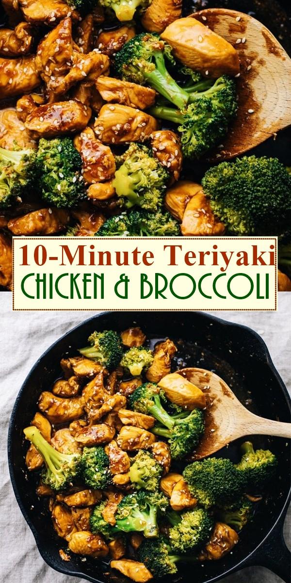 10-Minute Teriyaki Chicken & Broccoli #dinnerrecipes