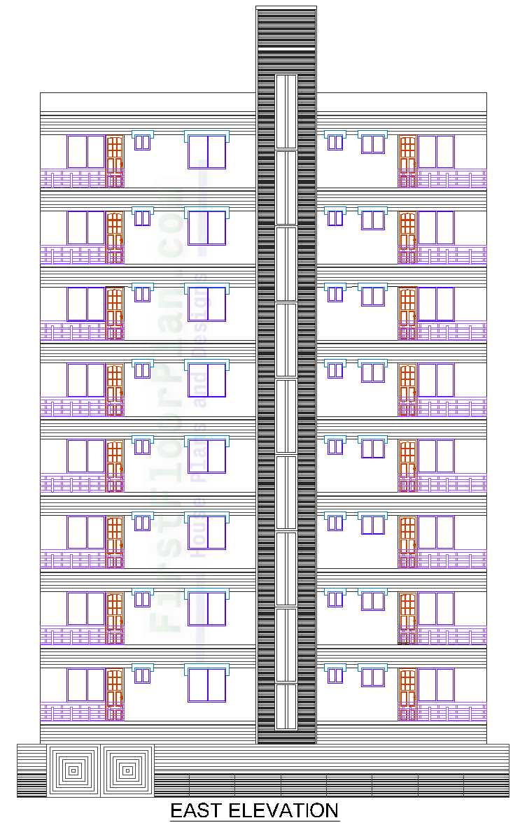High Rise Building Front Elevation