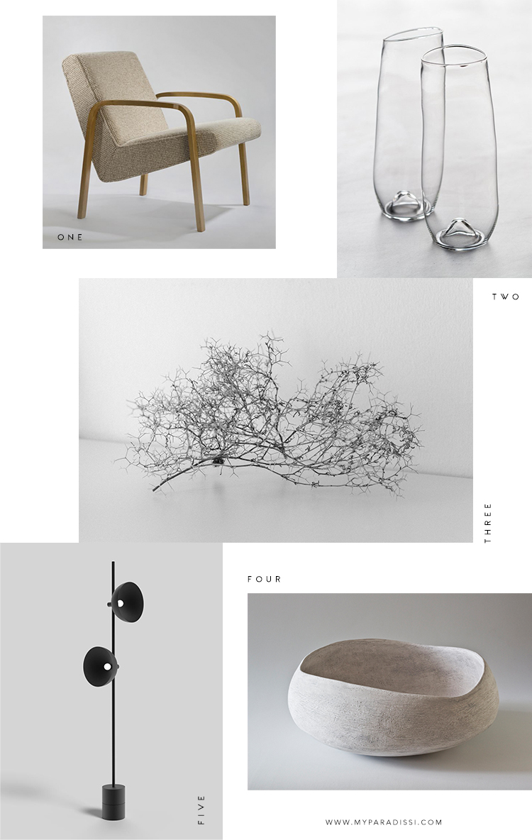 Favorite design objects from inspiring artists and designers curated by Eleni Psyllaki for My Paradissi