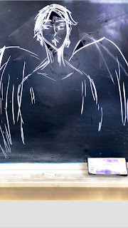 Students' Chalkboard Drawing of Satan from Paradise Lost