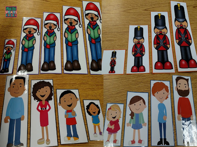 photos of carolers, nut crackers and people that students order by size