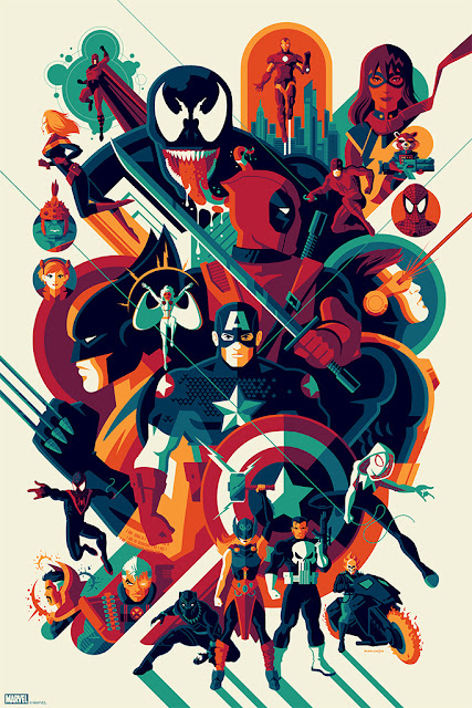 The Modern Age of Marvel Comics Screen Print by Tom Whalen x Mondo