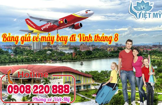 Bảng giá vé máy bay giá rẻ đi Vinh tháng 8