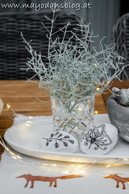 Tischdekoration im Wintergarten