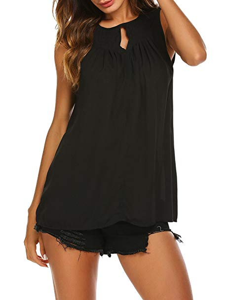 AMAZON - 60% off Sleeveless Front Hole Ruched Chiffon Tank Top