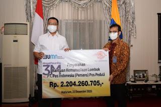 Gubernur Terima Bansos Kemanusiaan Rp2,2 M dari PT Pos Indonesia