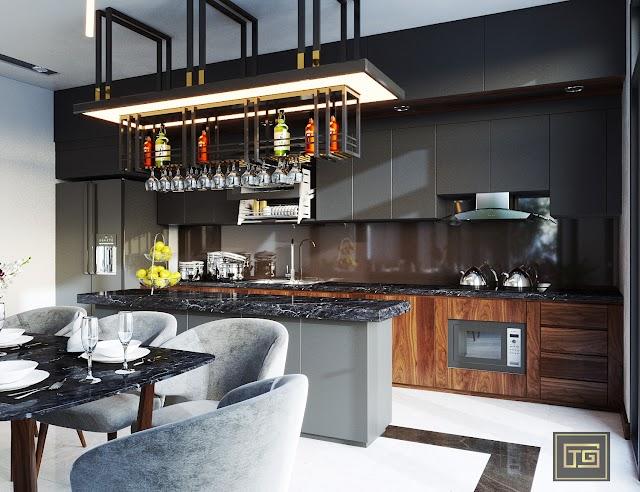 Thiết kế nội thất tầng 1 biệt thự kèm model SU để tải