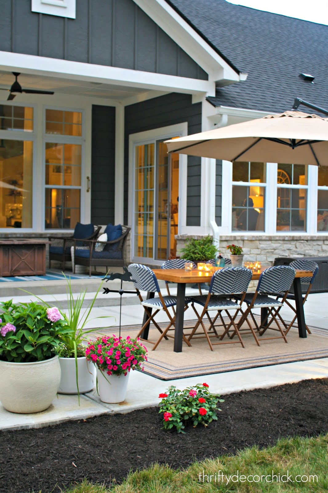 Outdoor dining space on open patio