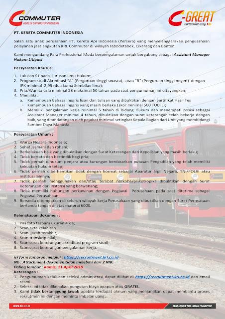 Lowongan Kerja PT Kereta Commuter Indonesia April 2019