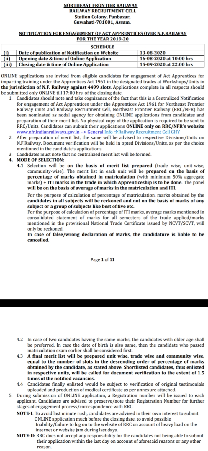 NOTIFICATION FOR ENGAGEMENT OF ACT APPRENTICES OVER N.F. RAILWAY FOR THE YEAR 2029-2020,Indian Railways Recruitment, Jobs, North Frontier Railways Latest Recruitment Notification, ITI Apprentice Recruitment,nf railway recruitment 2020  n f railway personnel department  nfr.indianrailways.gov.in recruitment 2020  northeast frontier railway recruitment group d  www.nfr.indianrailways.gov.in recruitment 2019  north east railway recruitment 2020  assam career 2020 railway  railway jobs in assam 2020