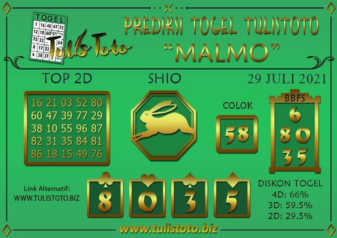 Prediksi Togel MALMO TULISTOTO 29 JULI 2021