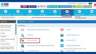 SBI debit card by Internet banking