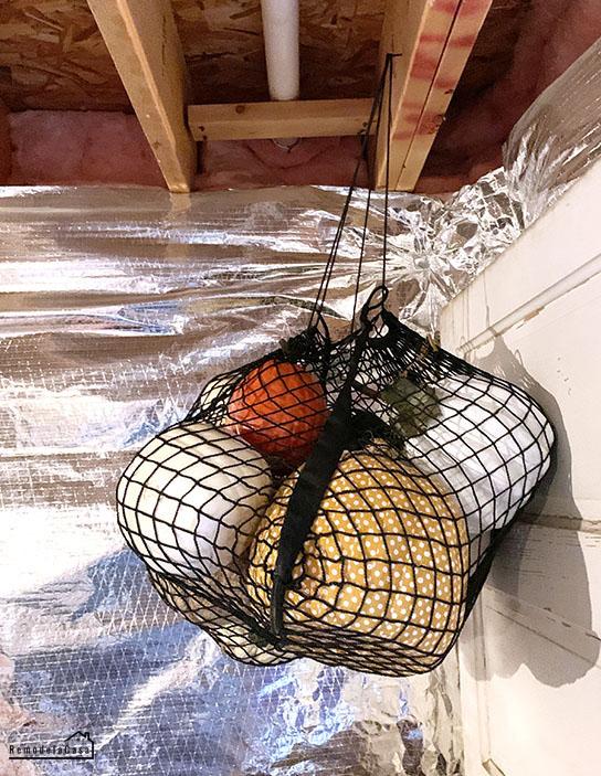 seasonal decor - pumpkins stored in basement
