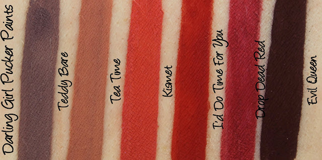 Darling Girl Pucker Paints - Teddy Bare, Tea Time, Kismet, I'd Do Time For You, Drop Dead Red and Evil Queen Swatches & Review