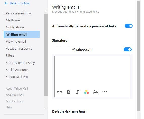 How to add an email signature to Yahoo account