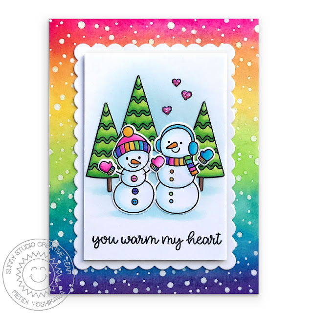 Sunny Studio Stamps: Feeling Frosty Rainbow Snowman Holiday Christmas Card (using Scalloped Square Tag Dies & Frosty Flurries Background Stamp)