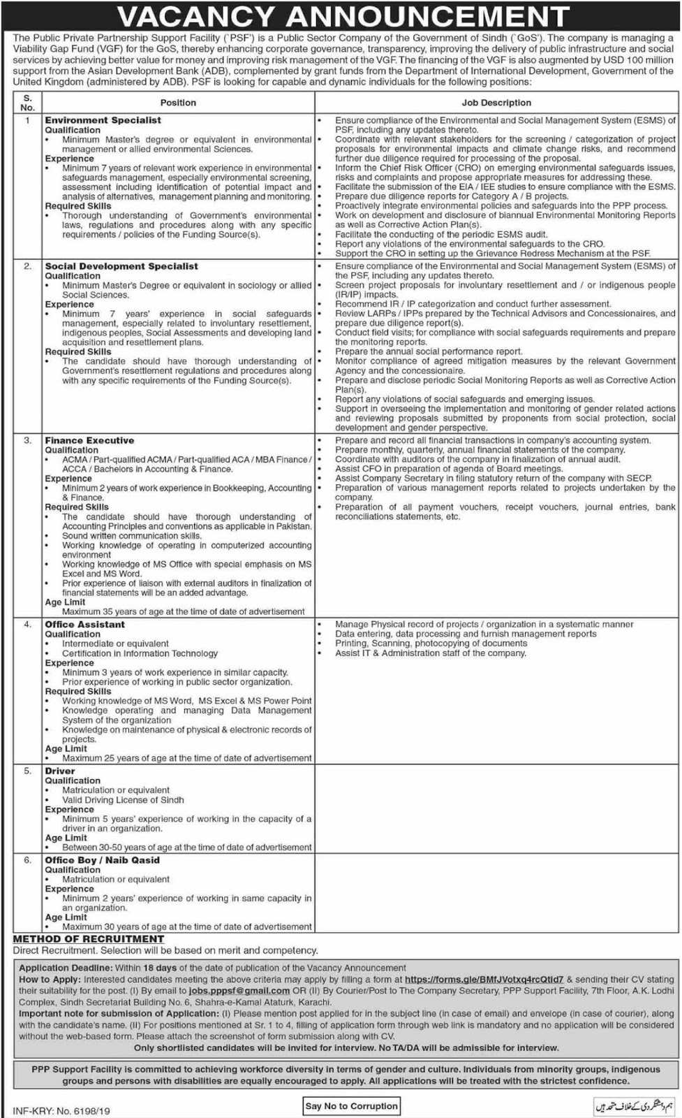 Public Sector Company Government of Sindh Jobs 2019