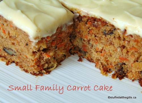 Small Family Carrot Cake with Cream Cheese Frosting.
