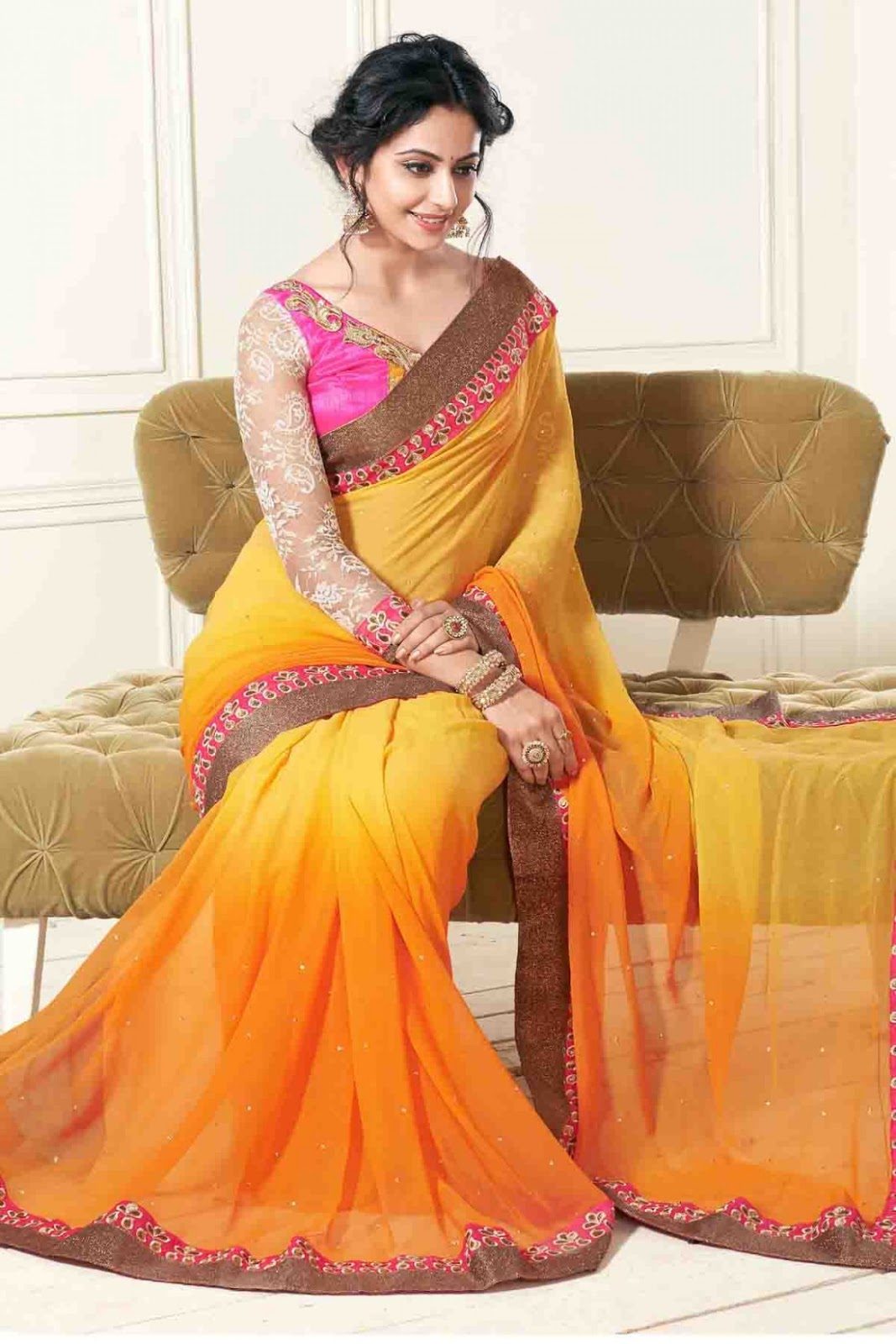 Rakul Preet Singh Photos In Hot Orange Chiffon Saree