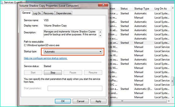 set VSS startup type to automatic