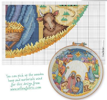 schema punto croce presepe - silent night  pattern crocc stitch free