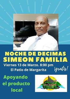 Esta noche será de Décimas con Simón Familia en el patio de Margarita