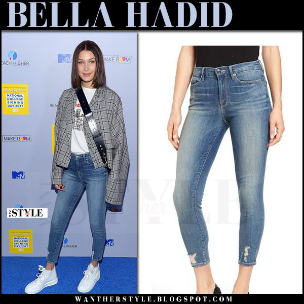Bella Hadid in grey plaid jacket, skinny good american jeans and white sneakers nike air force what she wore may 5 2017