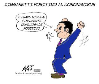 zingaretti, tampone, coronavirus, positivo, renzi, contagio, vignetta, satira