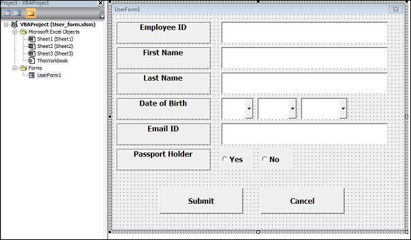 Design the forms using the given controls Shout4Education