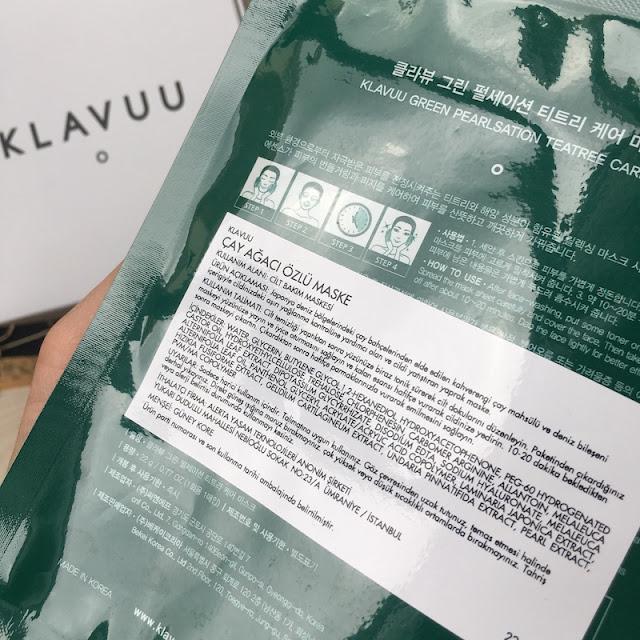 Klavuu Green Pearlsation Çay Ağacı Özlü Maske içerik