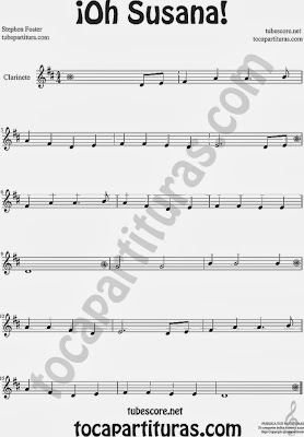 ¡Oh Susana! Partitura de Clarinete Sheet Music for Clarinete