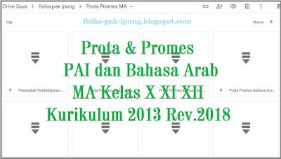 Prota Promes MA Kelas X XI XII Kurikulum 2013 Revisi 2018